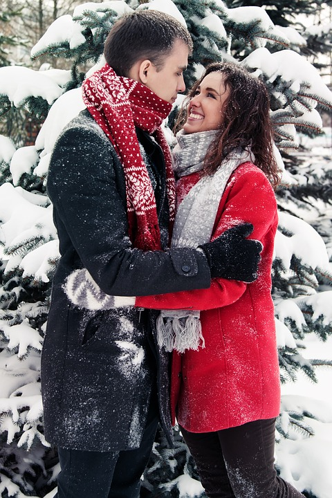 Couple, Hug, Winter Clothes, Winter Clothing, Snow