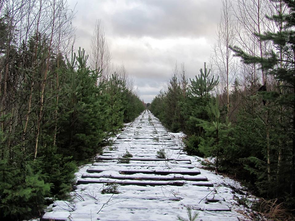 Russia, Sky, Clouds, Railroad, Railway, Winter, Snow