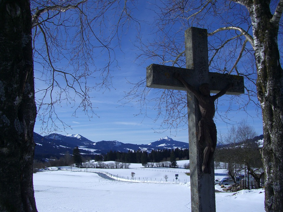 Cross, Stone Cross, Winter, Snow, Mountain Panorama