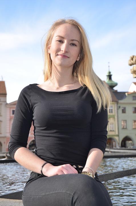 Girl, Friend, Square, Czech, Budějovice, Winter, Sun