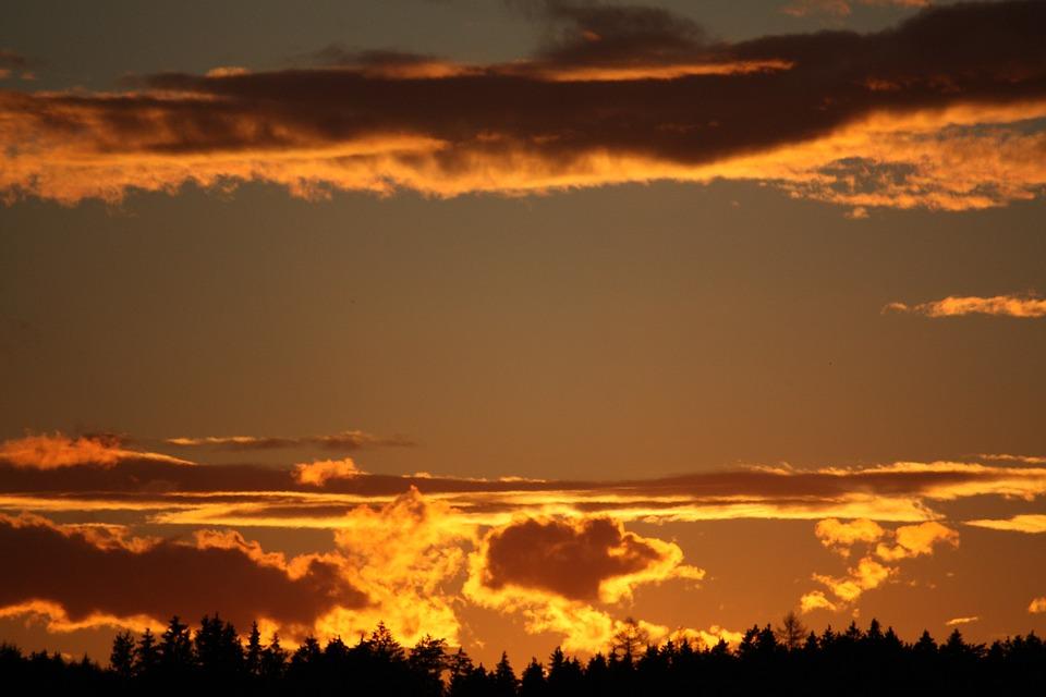 Sky, Clouds, Sonnenunetrgang, Winter, Evening