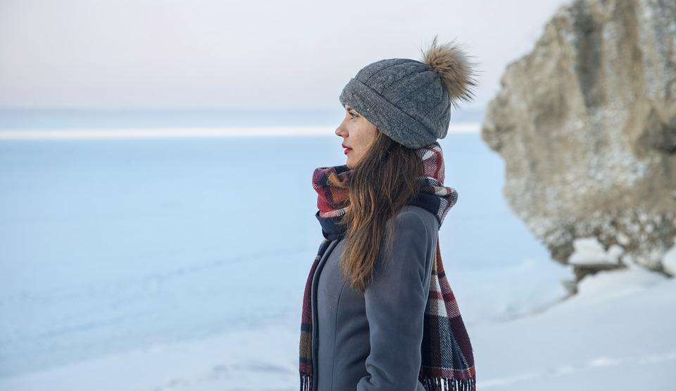 Girl, Winter, Coldly, Ice, Forest, Rocks, Nature