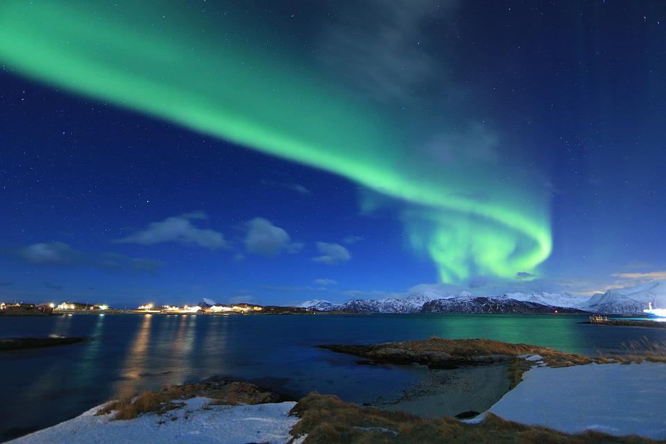 Northern Light, Norway, Arctic, Borealis, Green, Winter