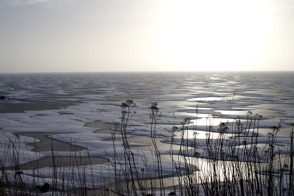 Winter, Ice, Fjord, Lake, Blowing Snow
