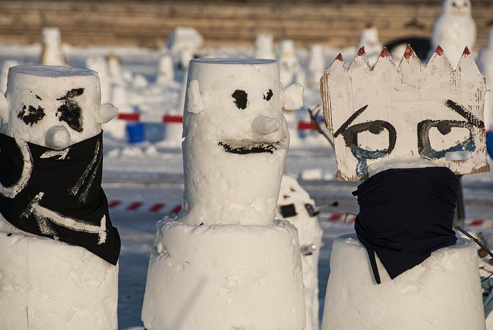 Snowmen, Three, Winter, Snow, Glasses, Ice, Predator