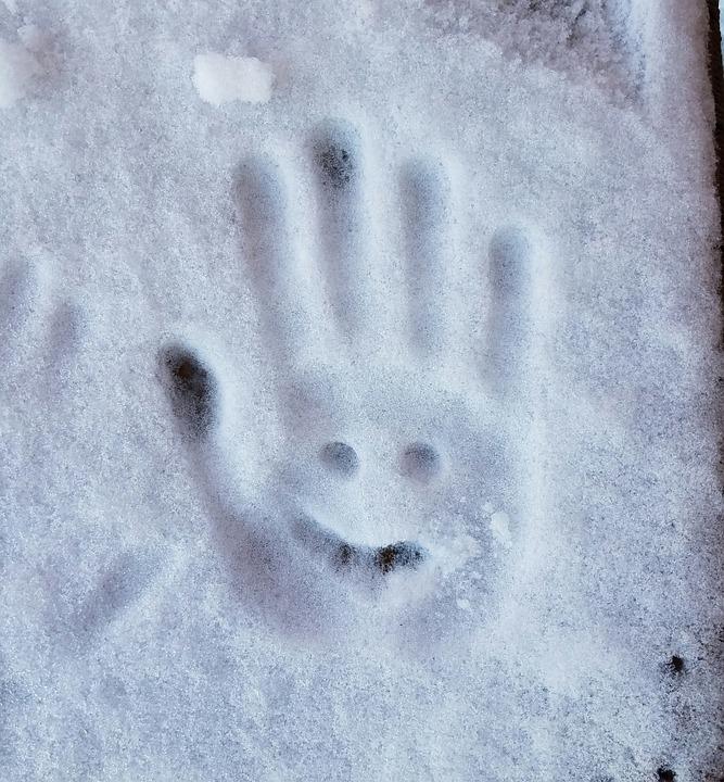 Hand Snowman, Ice Print, Cute, Winter, Snow