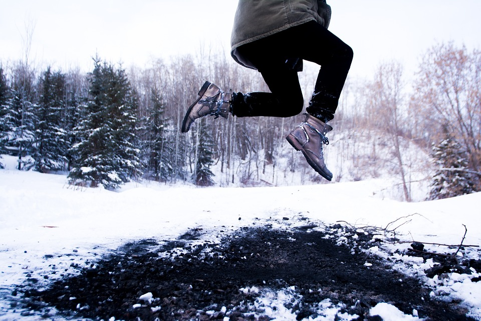 Leap, Jump, Jumping, Winter, Snow, Boots, Outdoors