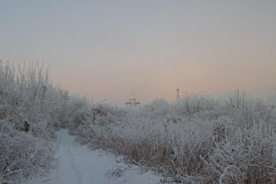 Winter, Dawn, Church, Road, Snow, Sky, Landscape