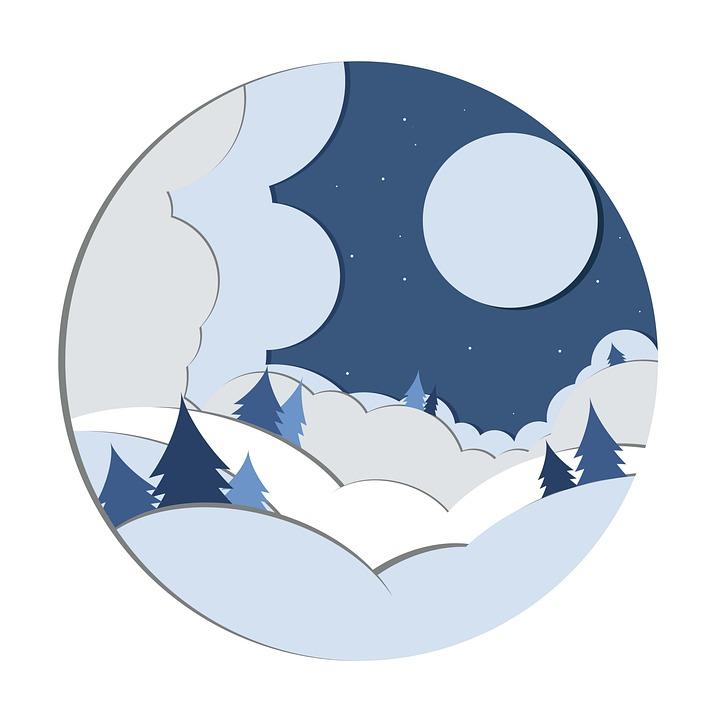 Winter, Night, Paper Cut, Background, Landscape, Nature