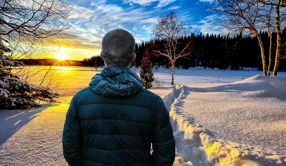 Winter, Man, Landscape, Sunset, Cold, Snow, Trees