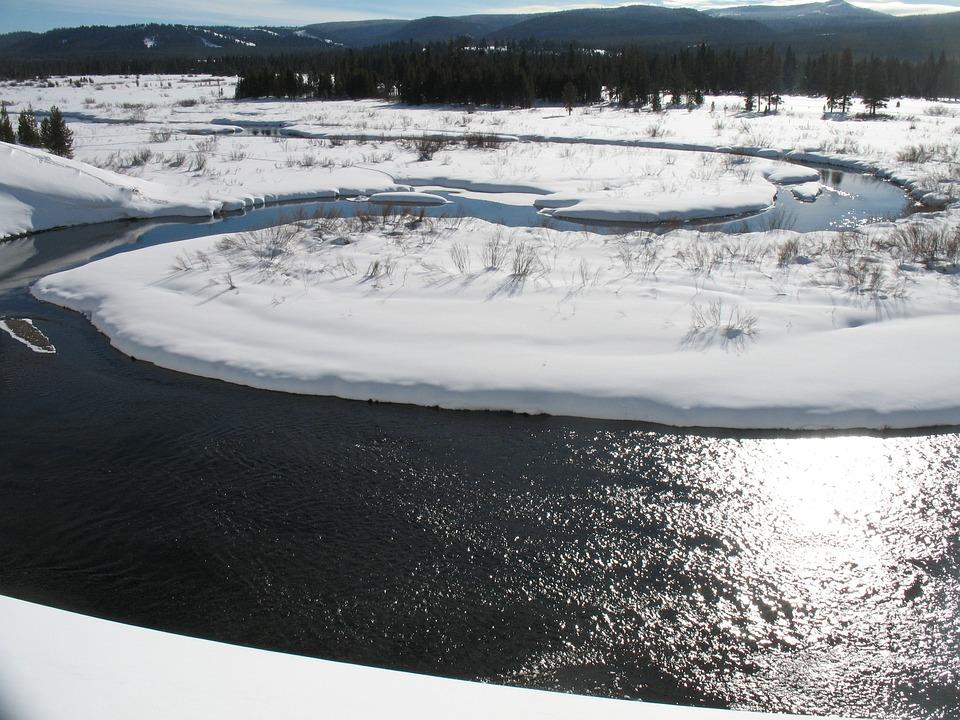 Frozen River, Winter Landscape, Season, White, Cold