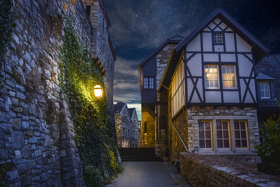People, Night, Winter, Lighting, Scenic, Sky, Houses