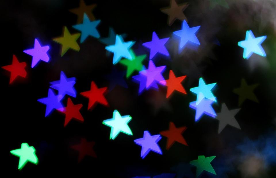 Stars, Bokeh, Decorations, Lights, Holidays, Winter