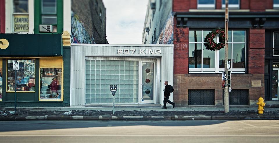 Urban, Downtown, London, Ontario, Winter, Man, Walking