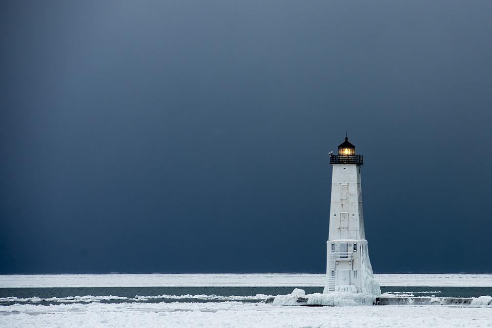 Lighthouse, Ice, Winter, Snow, Michigan, Cold