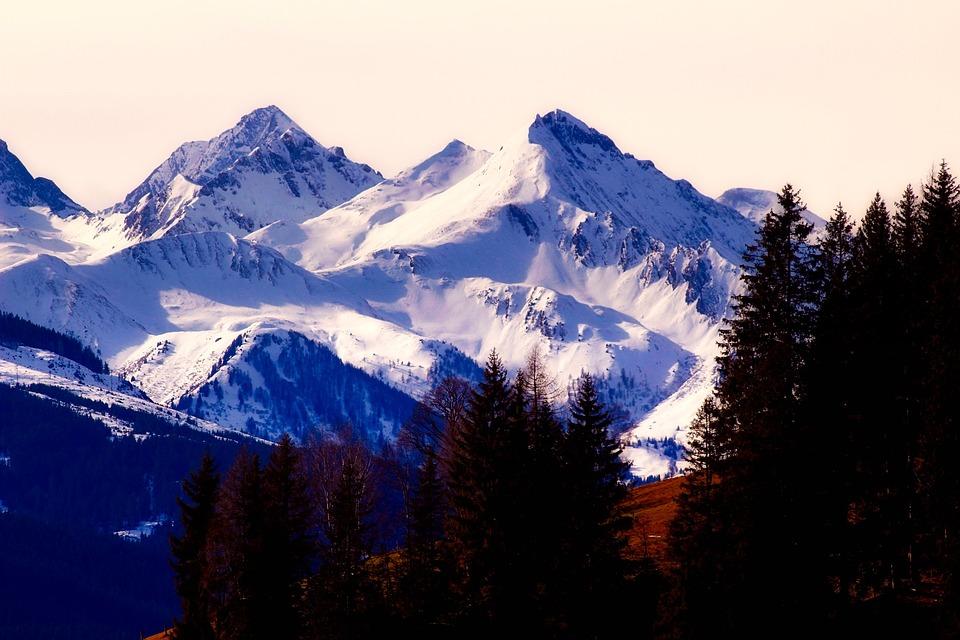 Austria, Mountains, Snow, Winter, Peaks, Alps, Forest