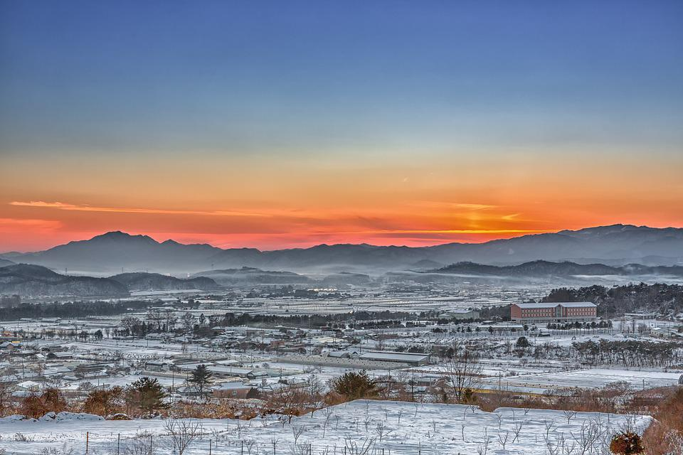 Chuncheon, Fog, Glow, Winter, Sunset, Sky, Nature