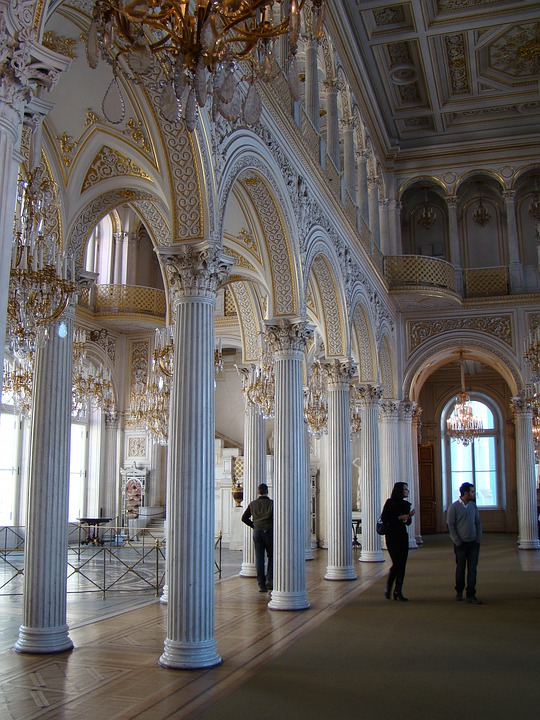Hermitage, Winter Palace, Petersburg, Hall, Columns