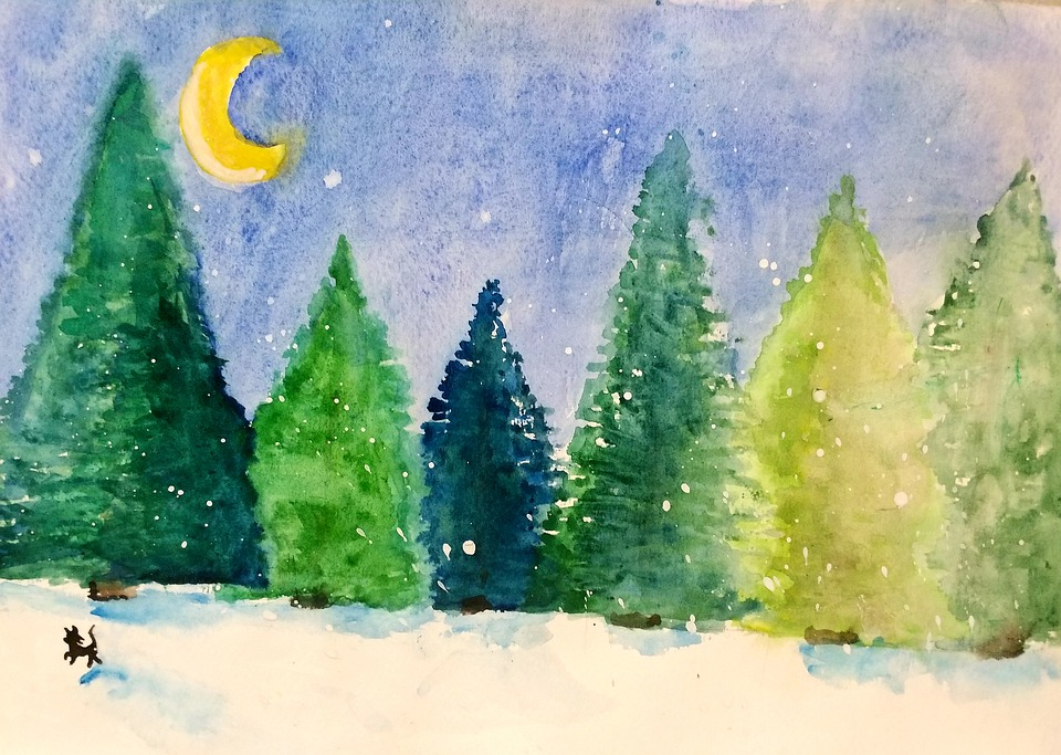 Cat, Christmas, Pine Tree, Winter, Forest, Moon