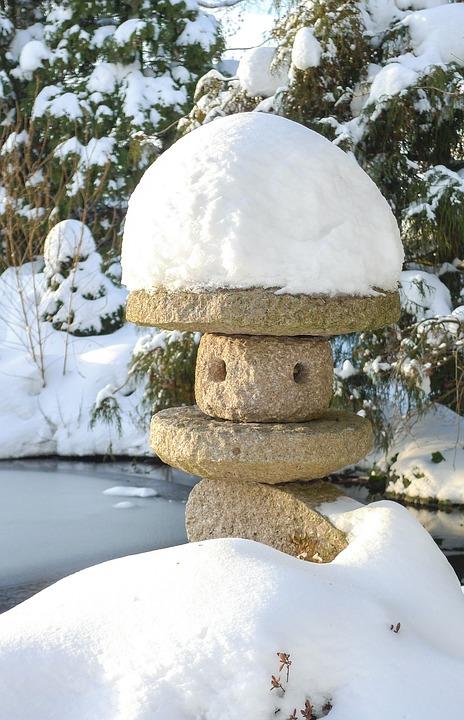 Garden, Stone Lantern, Winter, Pond