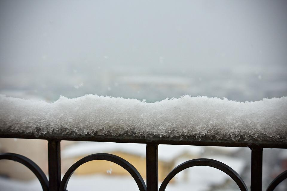 Snowfall, Balcony, Railing, Wrought Iron, Winter, Snow