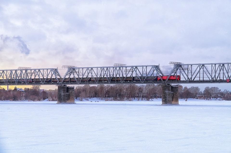 Railway, Bridge, Winter, Ice, Snow, Locomotive, Train