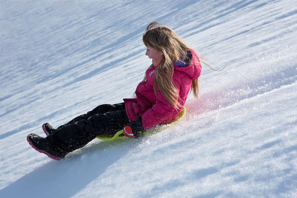 Person, Human, Girl, Winter, Snow, Bob, Ride On, Slip