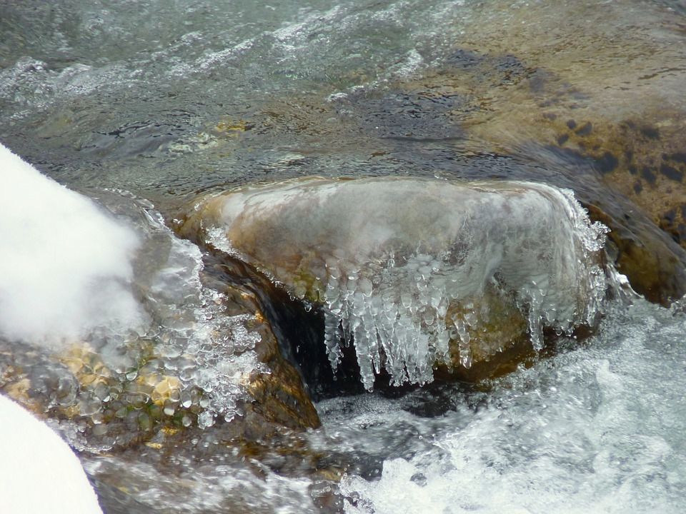 Water, Winter, Frozen, Ice, River, Snow, Cold, Stone