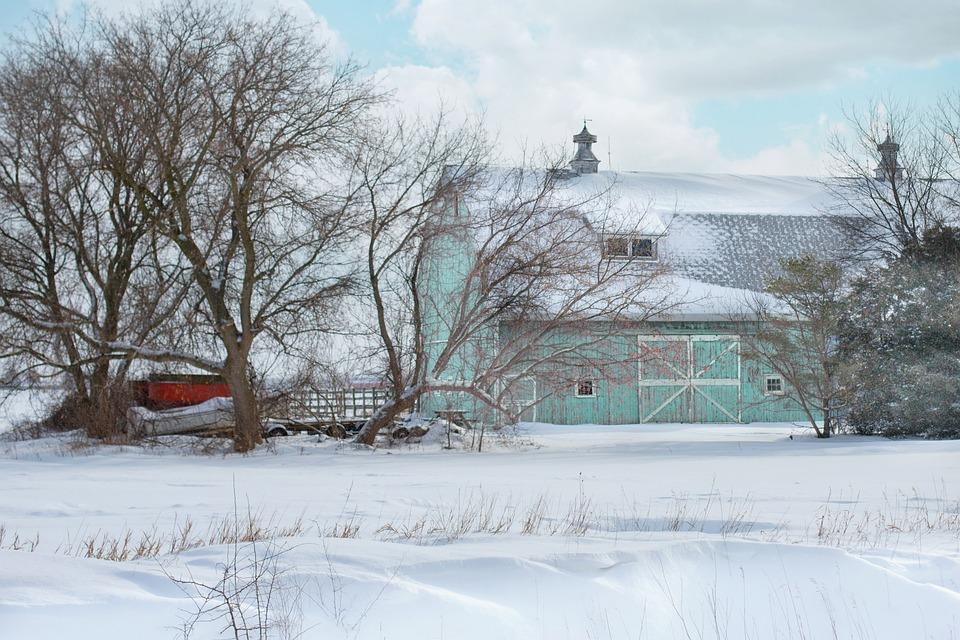 Barn, Aqua, Rustic, Farm, Winter, Snow, Country, Rural