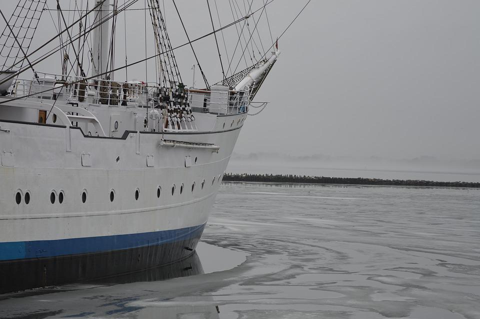 Sail, Water, Ship, White, Winter, Port
