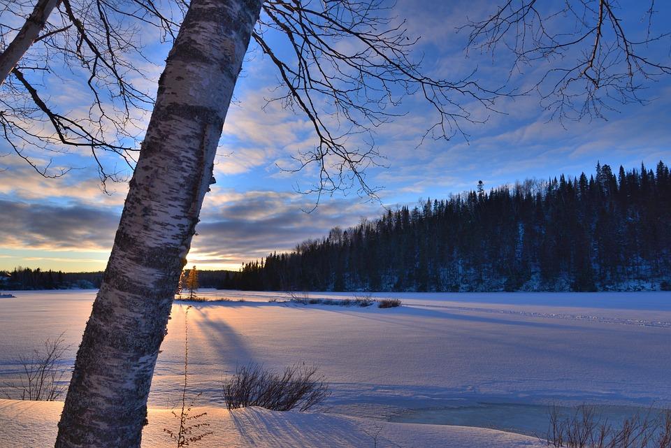 Winter Landscape, Sunset, Winter, Sky, Evening, Clouds