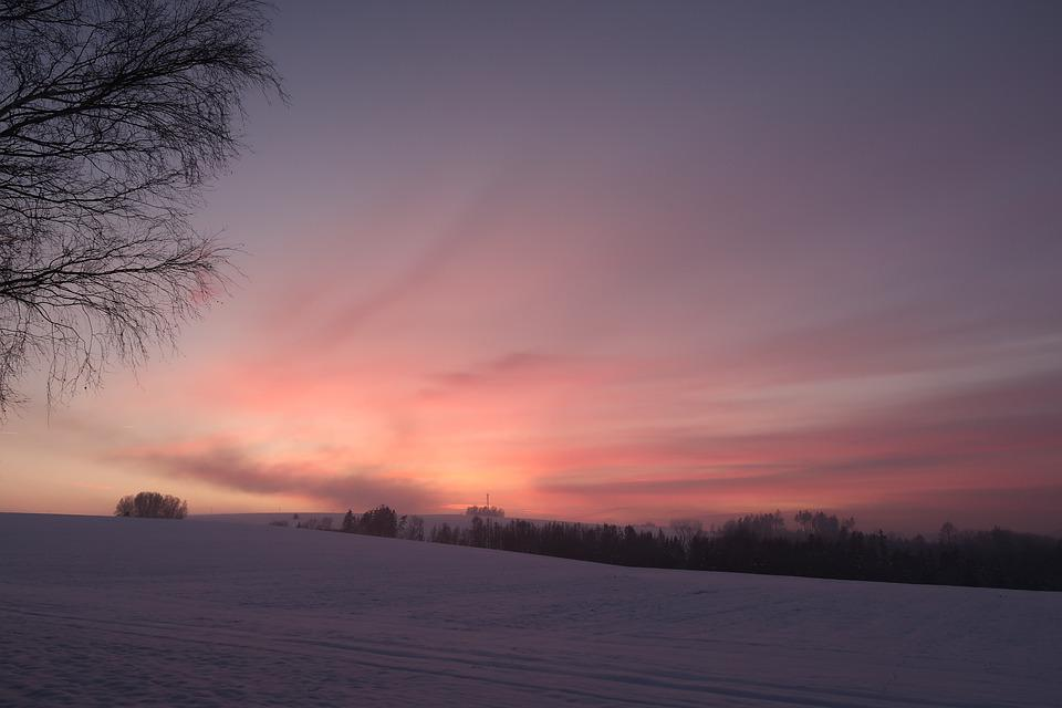 Field, Winter, Dawn, Sunrise, Sunlight, Morning, Sky