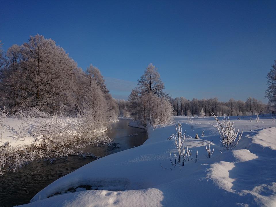 Winter, Landscape, Small River