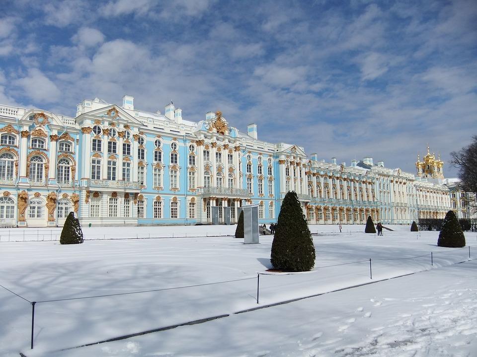 Russia, St Petersburg, Castle, Winter, Snow