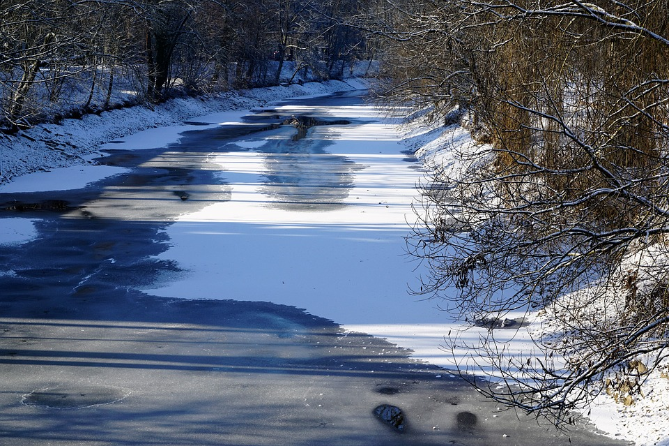 Danube, Tuttlingen, River, Winter, Snow, Silent