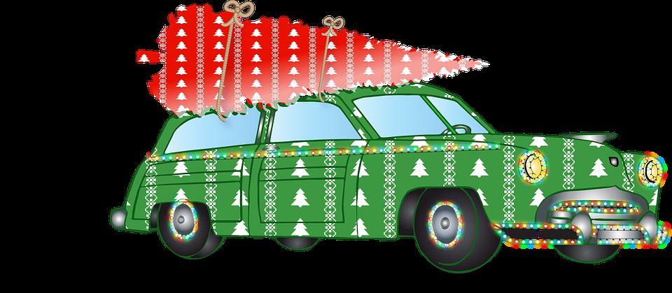 Car, Lights, Christmas Tree, Christmas, Snow, Winter