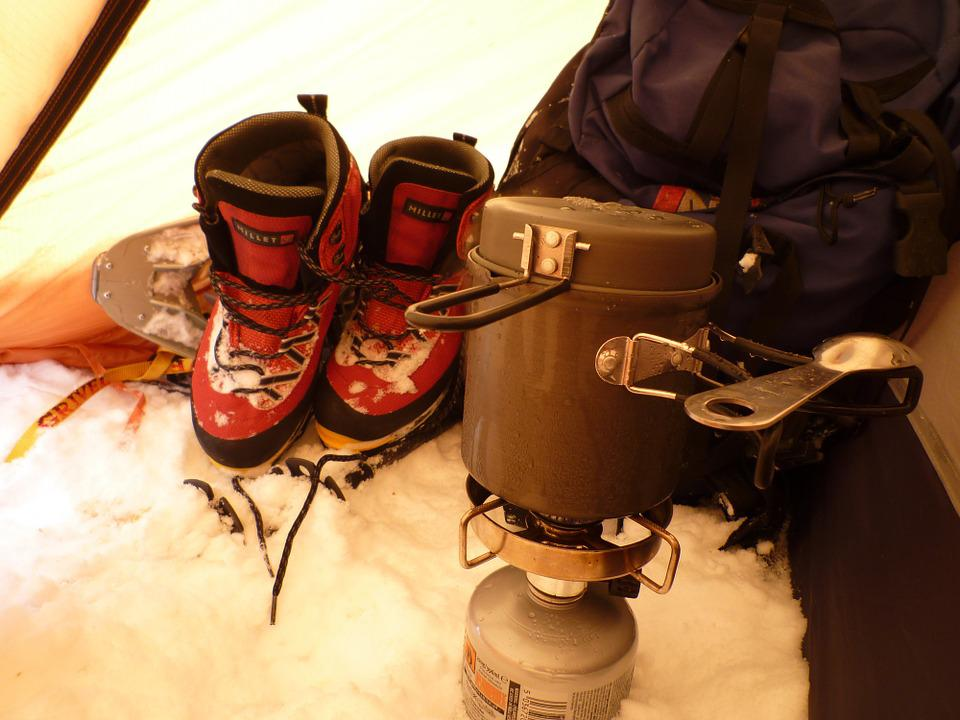 Mountain, Bivouac, Stove, Winter, Snow, Boots