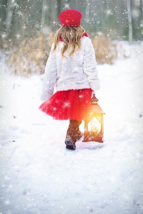 Winter, Snow, Snowing, Little Girl, Lantern, Red