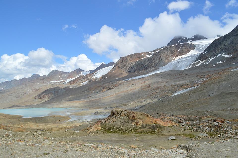 Lake, Glaciers, Clouds, Stones, Winter, Cold, Dolomites