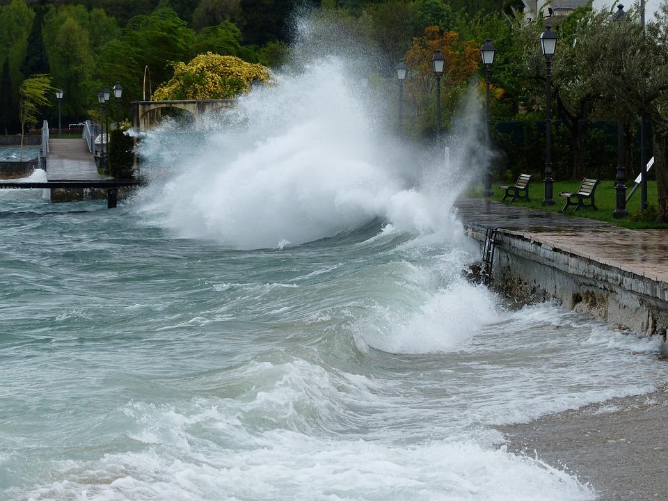 Wave, Inject, Breakwater, Winter Storm, Lake, Spray