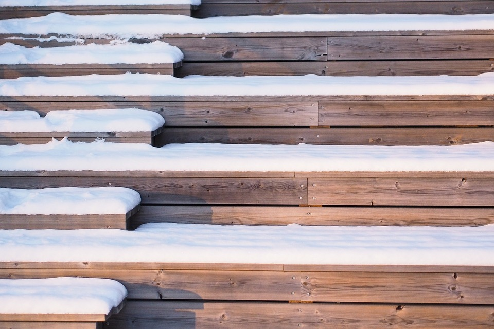Stairs, Snow, Sunlight, Winter, Cold, White, Outdoor