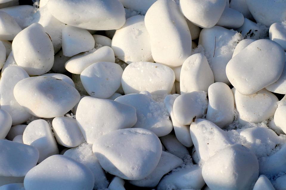 Pebbles, White, The Stones, Smooth, Winter, Texture