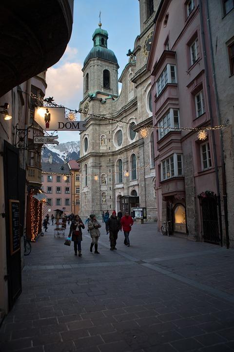 Innsbruck, Town, Austria, Winter, Evening, Basilica