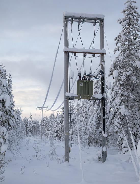 Transformer, Electricity Pole, Winter