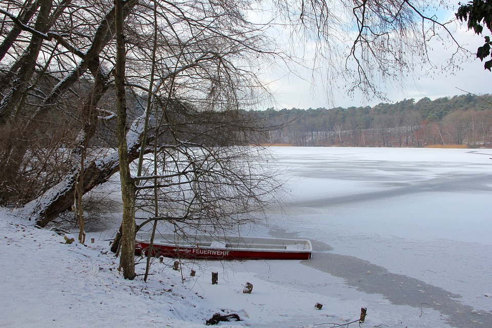 Lake, Winter, Ice, Cold, Bank, Water, Trees, Boot