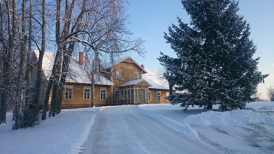 Winter, Wooden House, Landscape, Trees, Road, Nature
