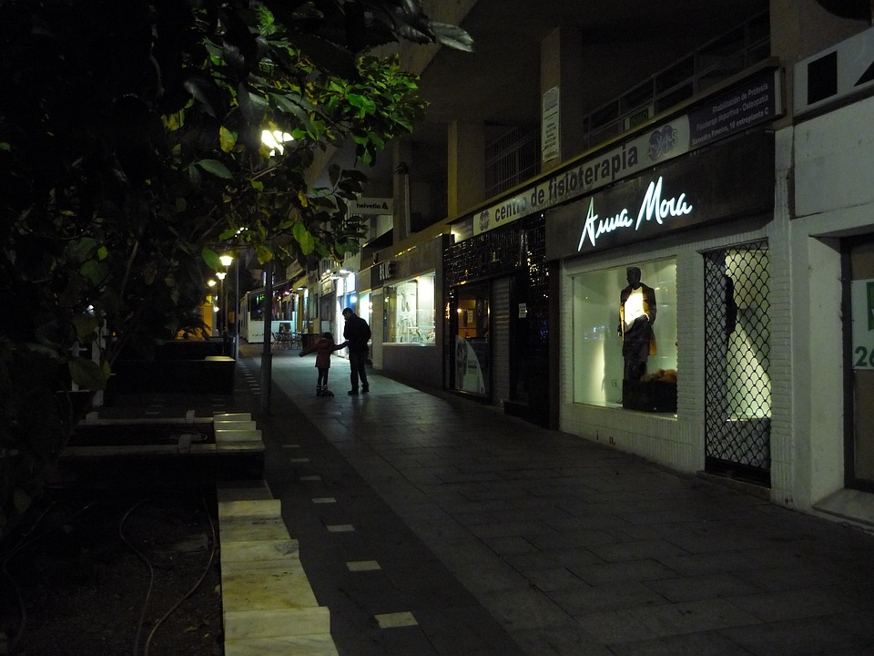 Night, Walk, Corner, Shops, Closed, Winter, Father