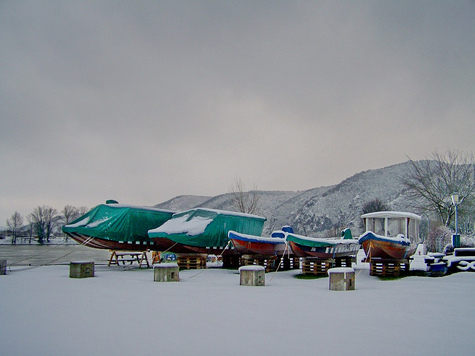 Snow, Winter, Boats, Winter Mood