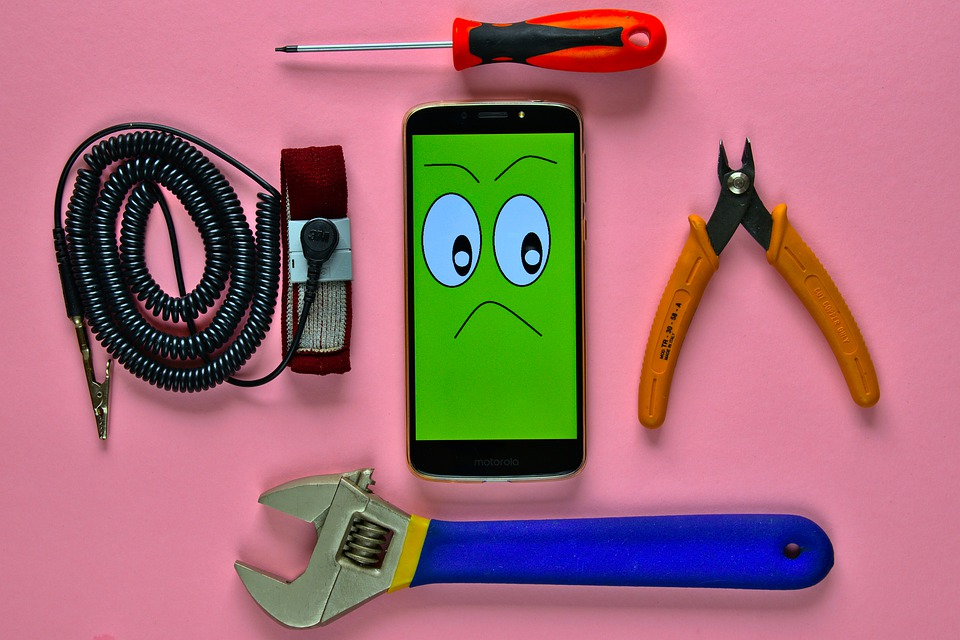 Smartphone, Wire Cutting Pliers, Screwdriver