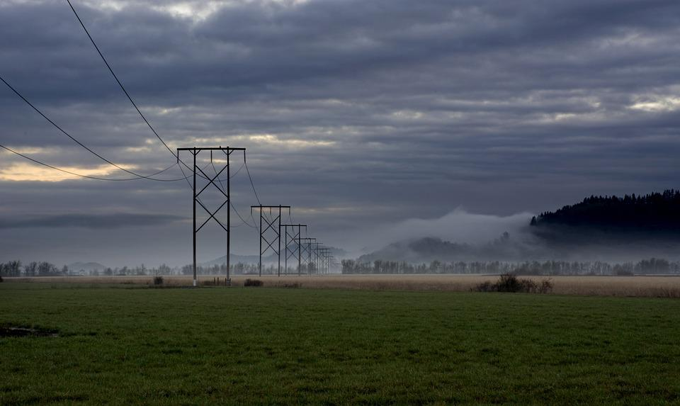 Power, Wires, Morning, Electric, Electricity, Cable